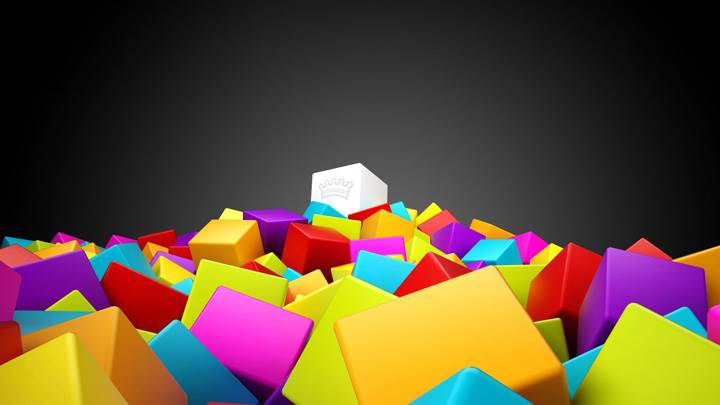 3d Colorful Squares On Black Background