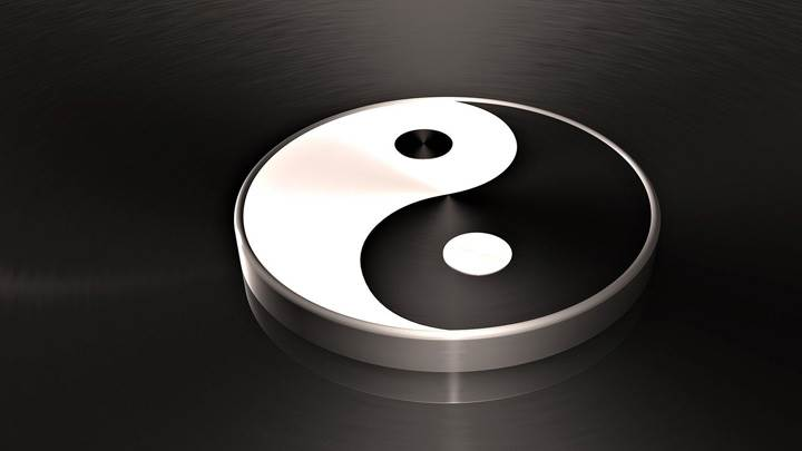 3d Yin Yang On Black Background