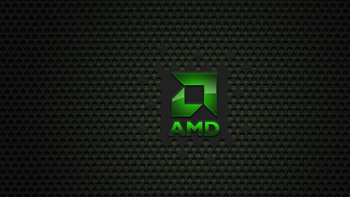 Amd Logo In Green On Dotted Background