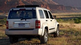 Back Pose Of 2008 Jeep Liberty Limited In Silver