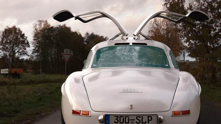 Back Pose Of 2009 Mercedes-Benz 300SL Gullwing Panamericana Replica