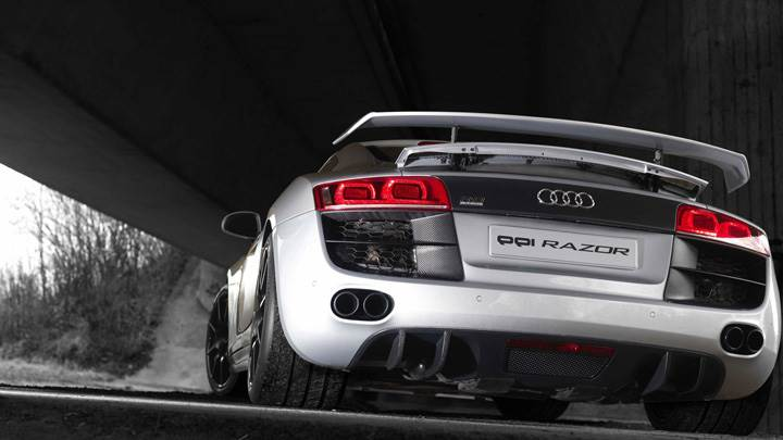 Back Pose Of Ppi Audi R8 Razor In Silver Color