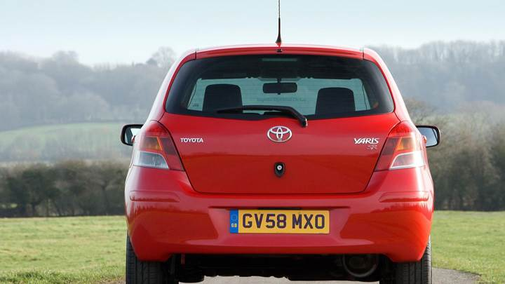 Back Pose Of Toyota Yaris In Red