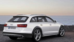 Back Side Pose Of 2013 Audi A6 Allroad In White Near Sea Side
