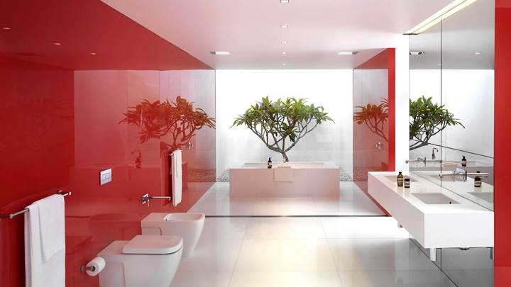 Beautiful Red White Bathroom Interior