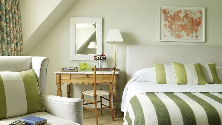 Bedroom With Green White Stripe Design