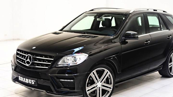 Brabus Mercedes-Benz ML W166 In Black Front Side Pose