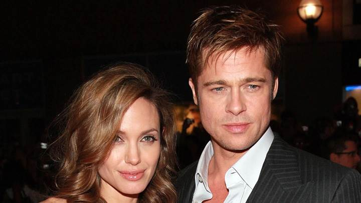 Brad Pitt Smiling With Angelina Jolie Photoshoot