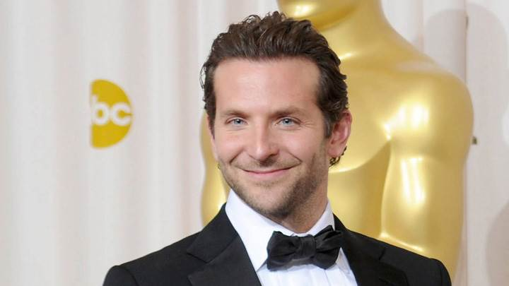 Bradley Cooper Sweet Smiling In Black Coat Photoshoot