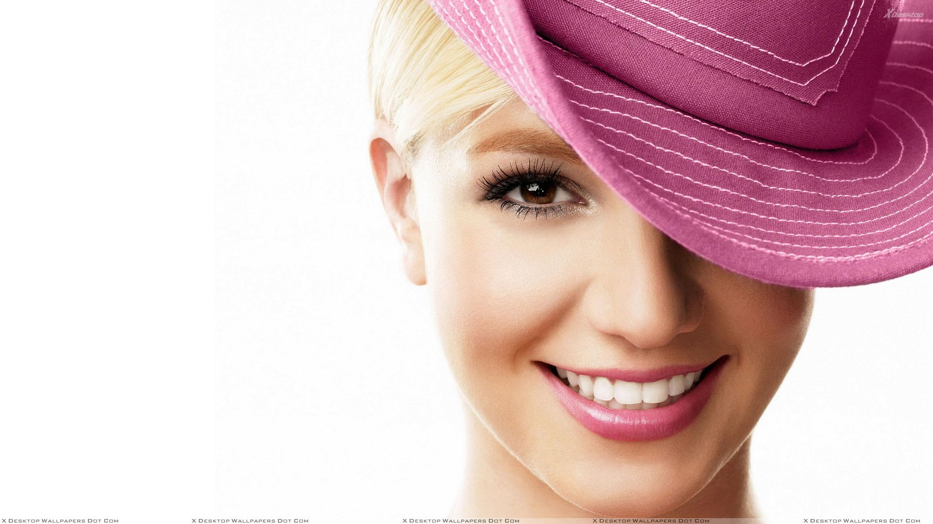 Britney Spears Smiling Pink Lips N Pink Hat Face Closeup