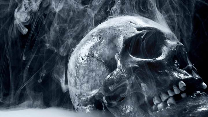 Burning Skull Black And White