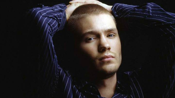 Chad Michael Murray In Blue Lining Shirt N Black Background