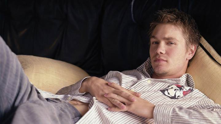 Chad Michael Murray In White Lining Shirt Laying Pose