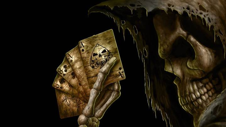 Death Card Game And Black Background