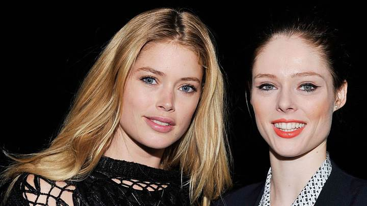 Doutzen Kroes Smiling With Girl At Fashion Show In Nyc