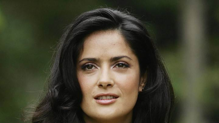 Face Closeup Of Salma Hayek In Wet Lips