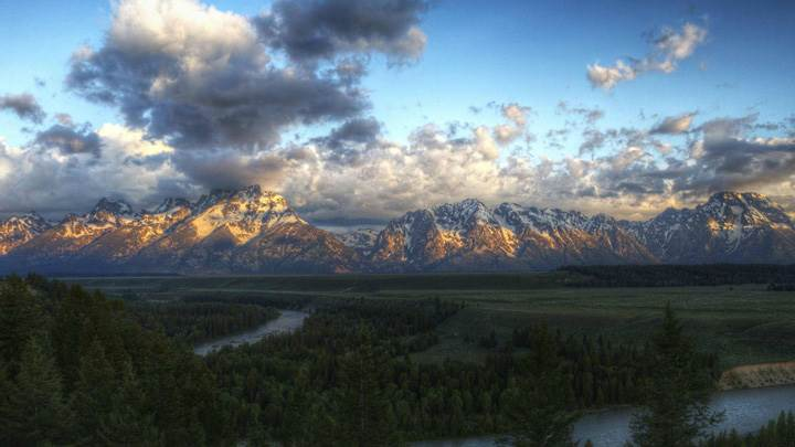 Far View Of Mountains In Grand Teton National Park