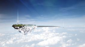 Floating Island Over The Cloud