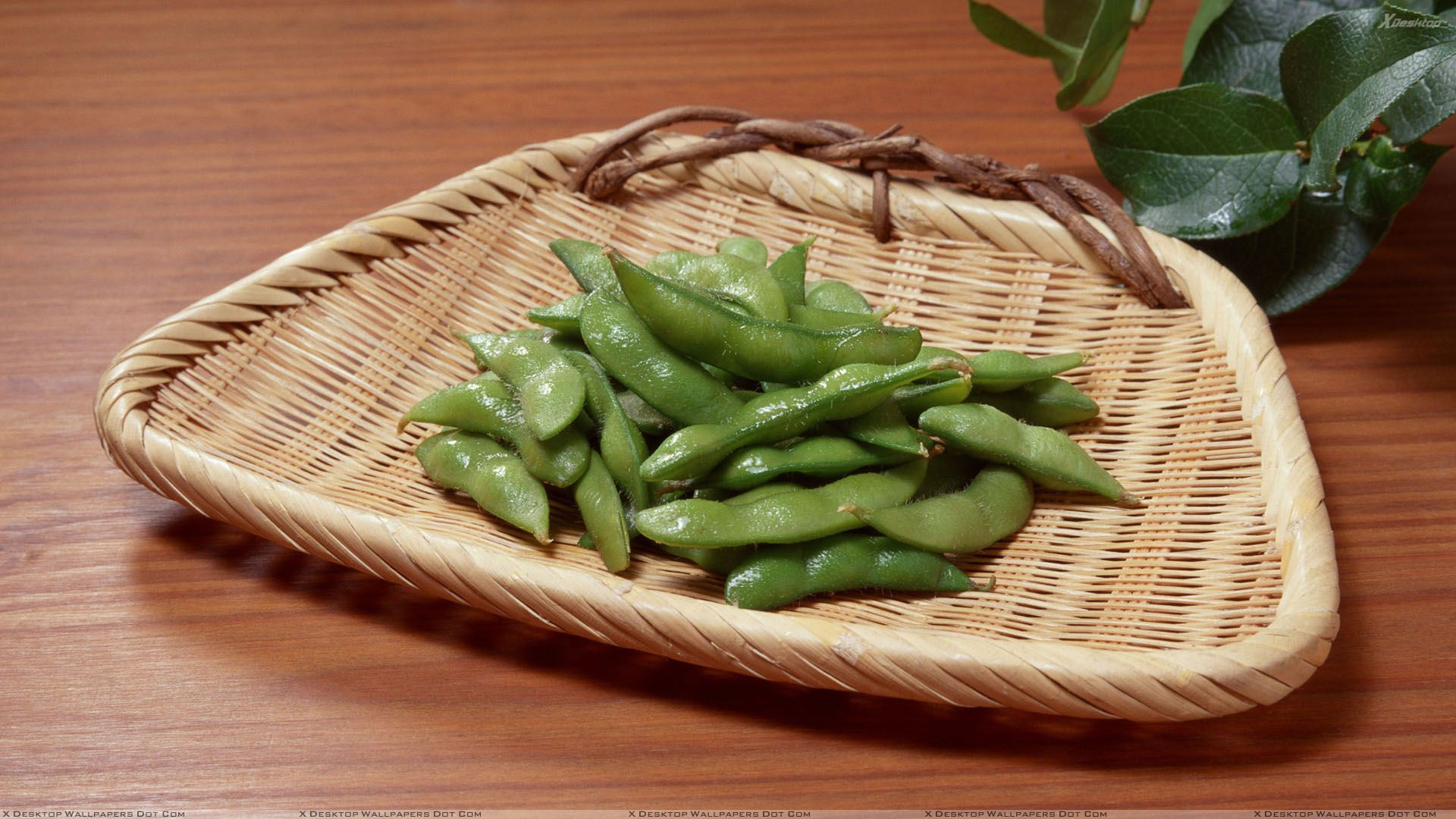 Freah Green Peas In Basket