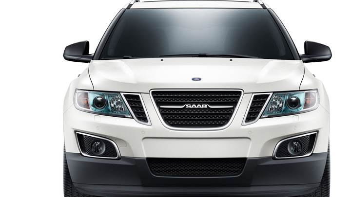 Front Pose Of 2011 Saab 9-4X In White N White Background