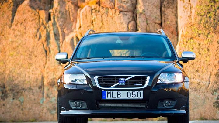 Front Pose of 2010 Volvo V50 In Black