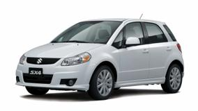Front Side Pose Of 2010 Suzuki SX4 SportBack In White N White Background