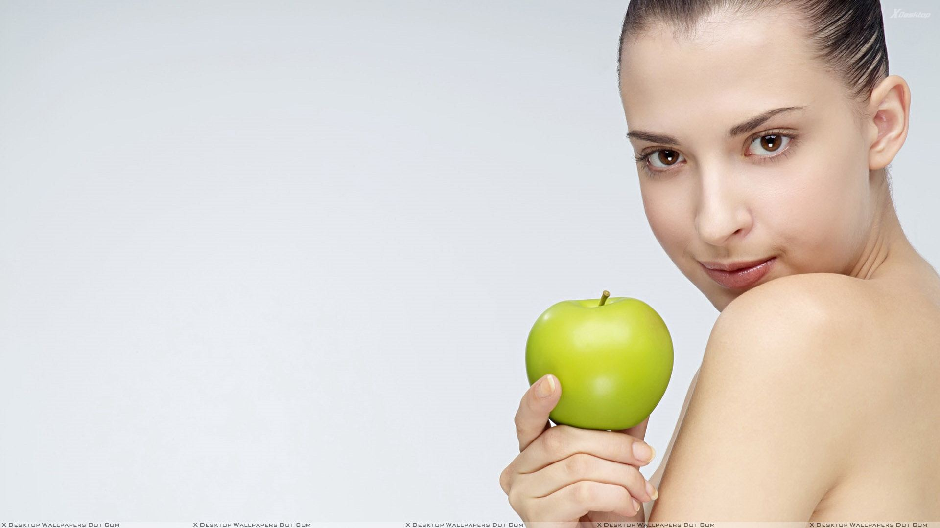 Girl Showing Green Apple Photoshoot