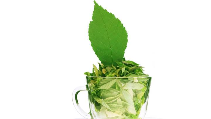 Green Tea Leaves In A Cup White Background