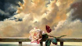 Illustration Of Rose With Cloudy Sky