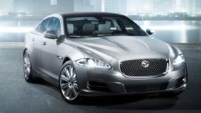 Jaguar XJ Front Pose N HeadLights On In Grey