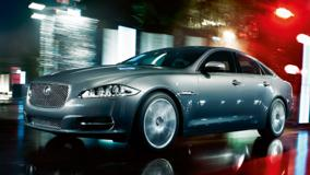 Jaguar XJ In Grey Running Fast