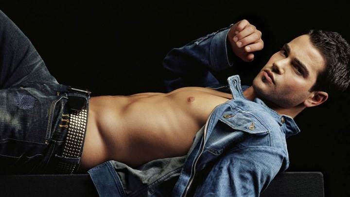 Jesse Metcalfe In Blue Jacket Showing Nice Body Laying Photoshoot