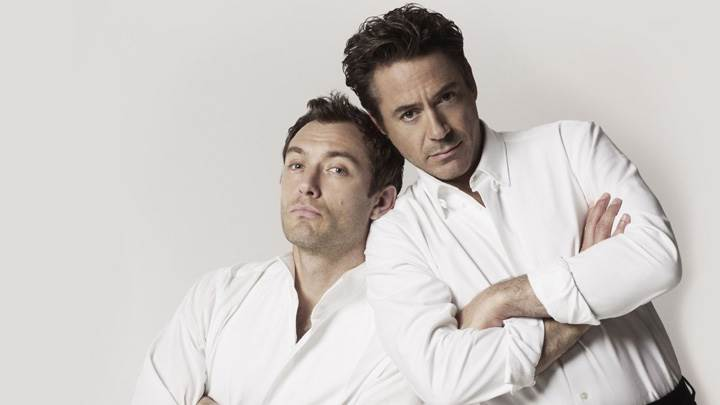 Jude Law And Robert Downey Jr In White Shirt Photoshoot