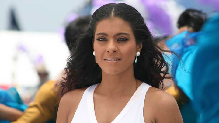 Kajol Cute Smiling Face In White Top Photoshoot