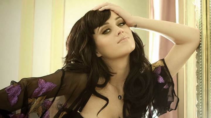 Katy Perry In Black Dress At Front Of Mirror Photoshoot