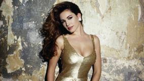 Kelly Brook Smiling In Golden Dress Modeling Pose Photoshoot