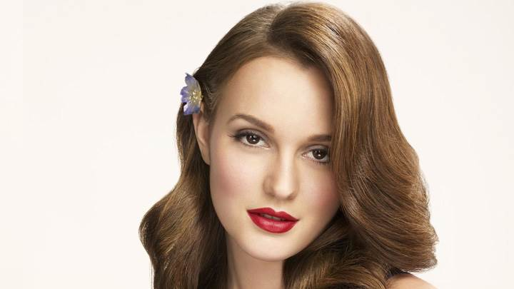 Leighton Meester Red Lips N Blue Dress Photoshoot