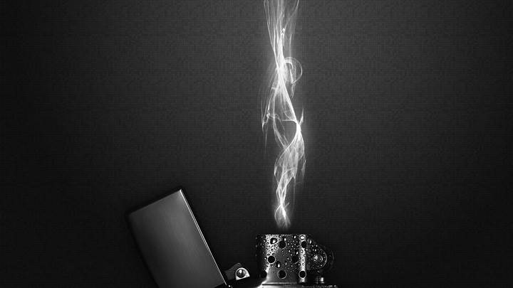 Lighter With Black And White Flames