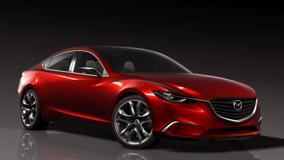Mazda Takeri Concept Saloon In Red Side Front Pose