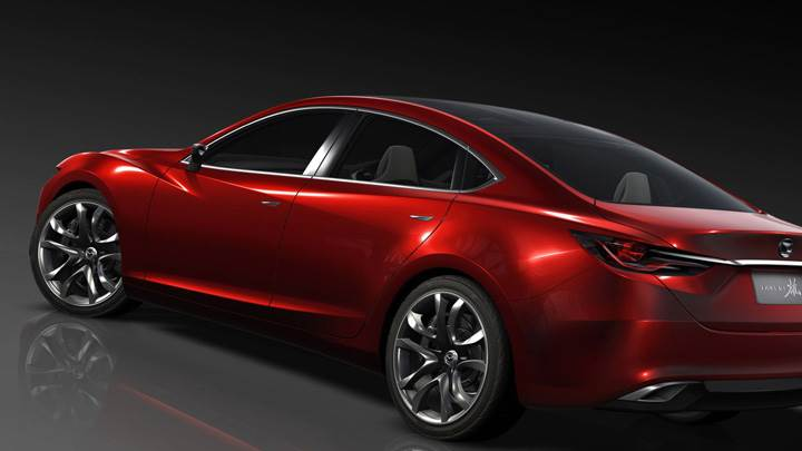 Mazda Takeri Concept Saloon Side Back Pose In Red