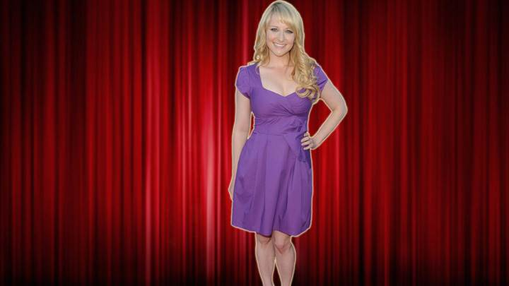 Melissa Rauch In Purple Dress Modeling Pose