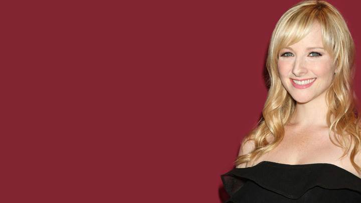 Melissa Rauch Smiling In Black Dress Photoshoot