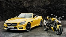 Mercedes-Benz SLK 55 AMG & Ducati Streetfighter In Yellow Front Pose