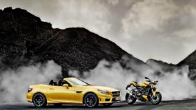Mercedes-Benz SLK 55 AMG & Ducati Streetfighter In Yellow Side Pose