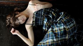 Mika Orihara Laying In Check Dress Photoshoot