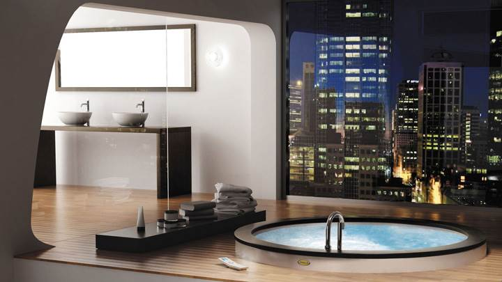 Modern Interior In Bathroom And Bathtub
