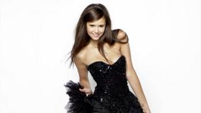 Nina Dobrev Smiling In Black Dress Naughty Pose Photoshoot