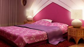 Pink Background And Pink Bed In Bedroom
