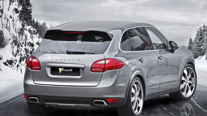 Porsche Cayenne II Schmidt Revolution Back Pose In Grey