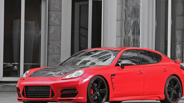 Porsche Panamera Anderson Germany In red Front Side Pose